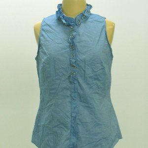 WHMB Light Blue Sleeveless Blouse with Frill Neck